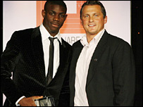 Micah Richards with former England cricketer Darren Gough at the Square Mile Sports awards