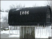 Ice-covered mailbox in Missouri