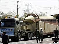 An Iranian military truck carries a long-range Shahab-3 ballistic missile (September 2006)
