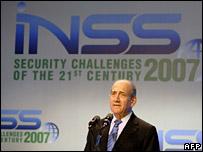 Ehud Olmert speaks at the INSS in Tel Aviv (11 December 2007)