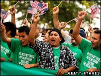 Protesters demonstrate as the Prince William Board of County Supervisors considers new immigration measures, Oct 07