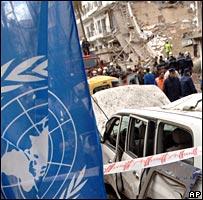 Trabajos de rescate en el edificio de la ONU