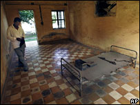 A torture cell at the former Tuol Sleng concentration camp, Cambodia