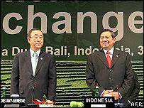 United Nations Secretary General Ban Ki-moon (left) at the Bali conference with host Indonesian President Susilo Bambang Yudhoyono