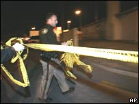 A police officer at the scene of the shootings in Las Vegas on 11 December 2007