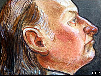 File image of a courtroom drawing of Robert Pickton