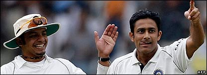 Anil Kumble (right) won his first Test series as India captain 