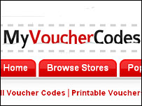 MyVoucherCodes website