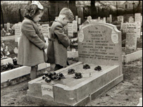 Children at the grave of Simon the cat at Ilford Animal Cemetery in the early 1950s