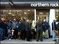 Customers queuing outside Northern Rock in September