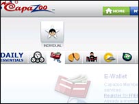 Screen shot of Capazoo site