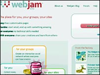 Screen shot of Webjam site