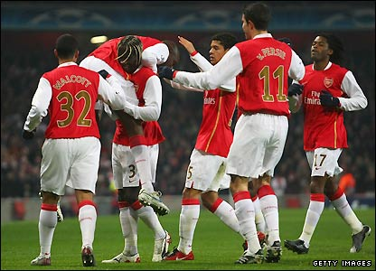 Arsenal's players celebrate their goal
