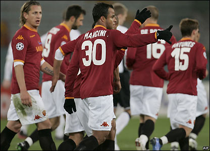 Roma celebrate their equaliser
