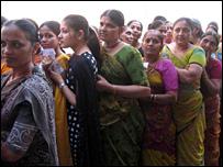 A queue of voters in Gujarat