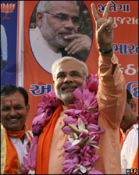 Narendra Modi at an election rally
