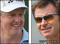 Colin Montgomerie (left) and Nick Faldo