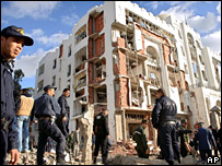 Building damaged after Algiers bombing (11 December 2007)