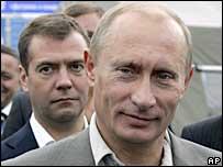 Dmitry Medvedev (left) and Vladimir Putin