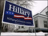 Hillary Clinton campaign poster coated in ice