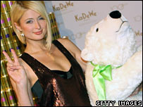 Paris Hilton (left) and a stuffed toy of Knut the polar bear