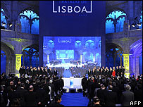 EU leaders sign the Lisbon Treaty in Jeronimos monastery, Lisbon