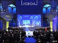 EU leaders sign the Lisbon Treaty in Jeronimos monastery, Lisbon