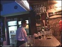A man working behind a bar in Ashghabat
