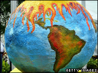 Protesters' model of the Earth (Getty Images)