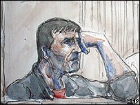 A sketch of Yvan Colonna during the trial