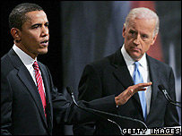 Democratic presidential candidates Barack Obama (left) and Joe Biden during Iowa debate.