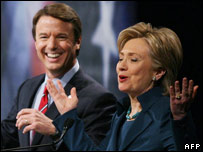 Democratic Presidential candidates Hillary Clinton and John Edwards during Iowa debate.