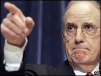 George Mitchell points the finger