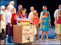 Children competing at the Urdd Eisteddfod