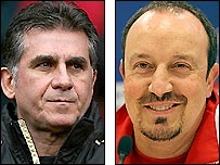 Manchester United assistant Carlos Queiroz (left) and Liverpool boss Rafael Benitez