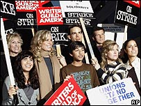 "Cast members of the ABC series ""Ugly Betty"" get together for a group photo after joining pickets from the Writers Guild of America and other unions marching outside Raleigh Studios in Los Angeles"