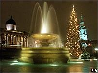 Decoración navideña en Trafalgar Square