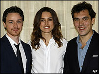 James McAvoy and Keira Knightley with Atonement director Joe Wright