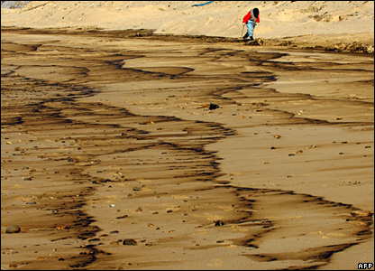 A woman walks along an oil-covered beach in South Korea