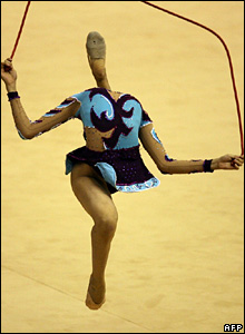 Hoai Thu Luu of Vietnam competes in the rope category of the women's rhythmic gymnastics event at the 24th Southeast Asian Games in Korat, Thailand.