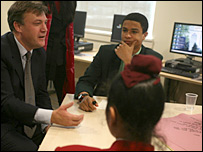 Ed Balls with pupils at Tower Hamlets College