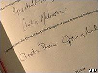 Gordon Brown's signature on Lisbon treaty