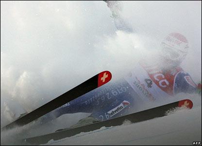 A Swiss skier in Val Gardena, Italy