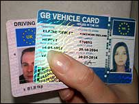 Fake ID card and a real driving licence