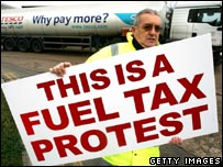 A fuel protester carrying a sign
