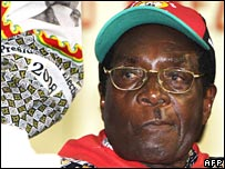 Zimbabwean President Robert Mugabe at a ZANU-PF congress in Harare, 14 December 2007