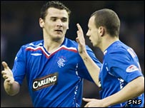 Lee McCulloch (left) celebrates putting Rangers ahead against Hearts