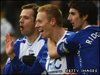 Mikael Forssell celebrates his opener for Birmingham