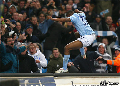 Etuhu celebrates his goal