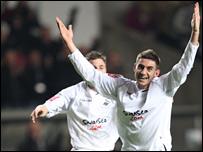 Angel Rangel celebrates Swansea's second goal